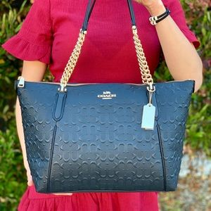 Coach Signature Black Leather Ava Chain Tote Bag